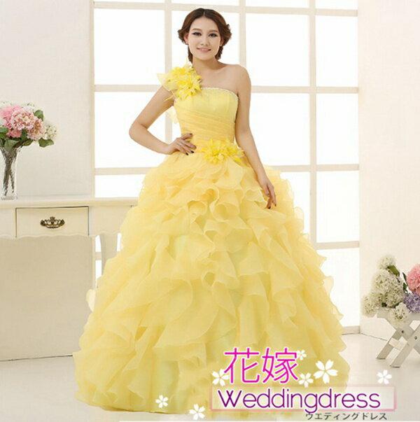 【送料無料】花嫁ドレス カラードレス ウエディングドレス ロングドレス 演奏会 忘年会 全4色 プリンセスライン お花コサージュが可愛いオーガンジードレス!サイズ調整可能ドレス カラーバリエーションドレス色違い  大きめサイズ