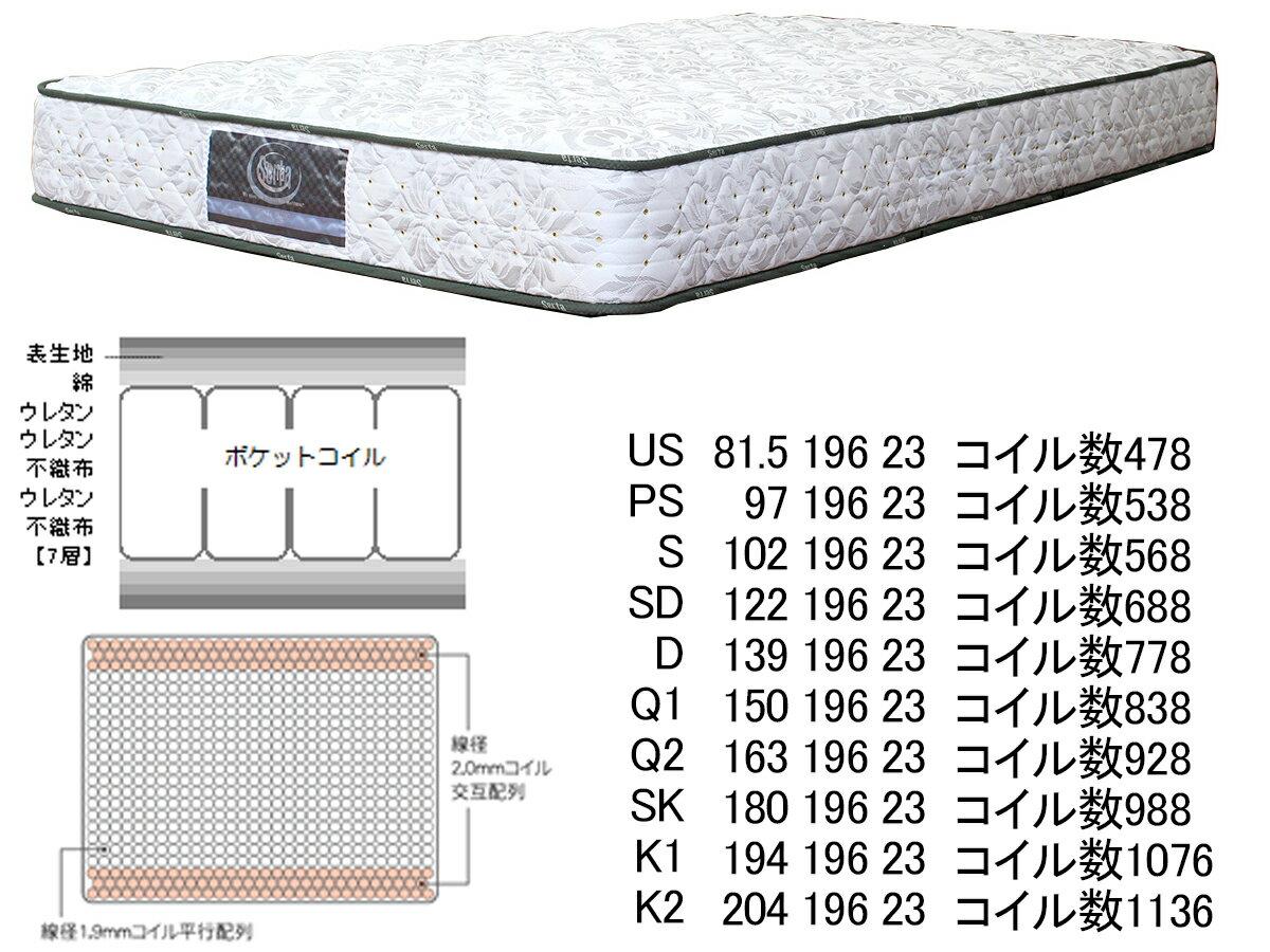 【開梱設置送料無料:梱包廃材引取り処分】サータアニバーサリー36Q1サイズ幅150cmクイーンサイズエッジサポート並行配列サータベッド serta ポケットコイル