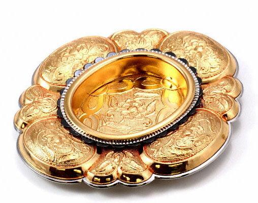 PB-592 御福御殿引手 本金 50号   黄色系 オーバル形 金属(黄銅 銅) 釘止め 襖に  BIDOOR(ビドー)