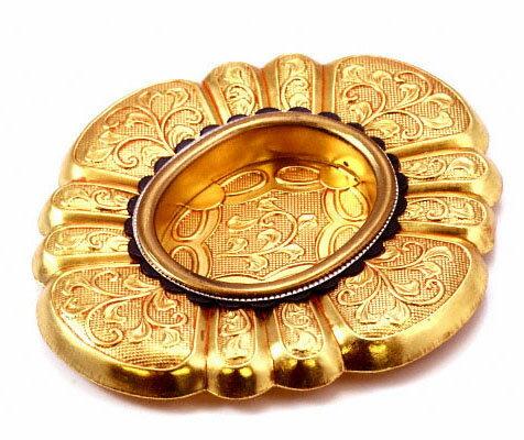 PB-593 甲貝御殿引手 本金 20号 20個入  黄色系 オーバル形 金属(黄銅 銅) 釘止め 襖に  BIDOOR(ビドー)