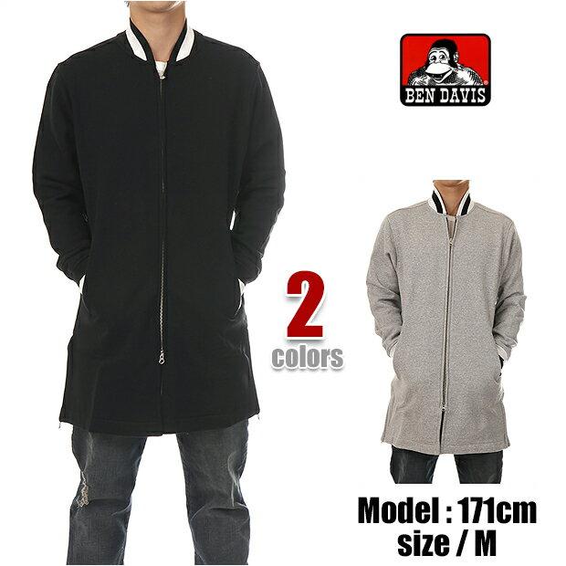 ベンデイビス ジャケット BEN DAVIS ジャケット メンズ スウェット ジャケット コート BEN DAVIS BENCH WORKER SWEAT JACKET ロング丈 (グレー ブラック)