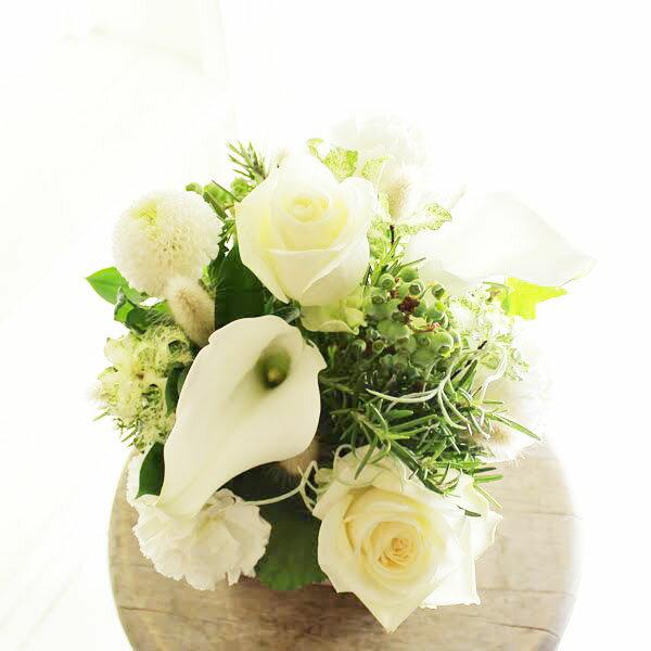 アレンジメントフラワーSサイズ Refreshing Coolness(グリーン・白系)※デザイナーが手がけるお洒落な一品。誕生日、結婚記念日など、様々な記念日のお祝いへの贈り物に【送料・メッセージカード無料】【あす楽】