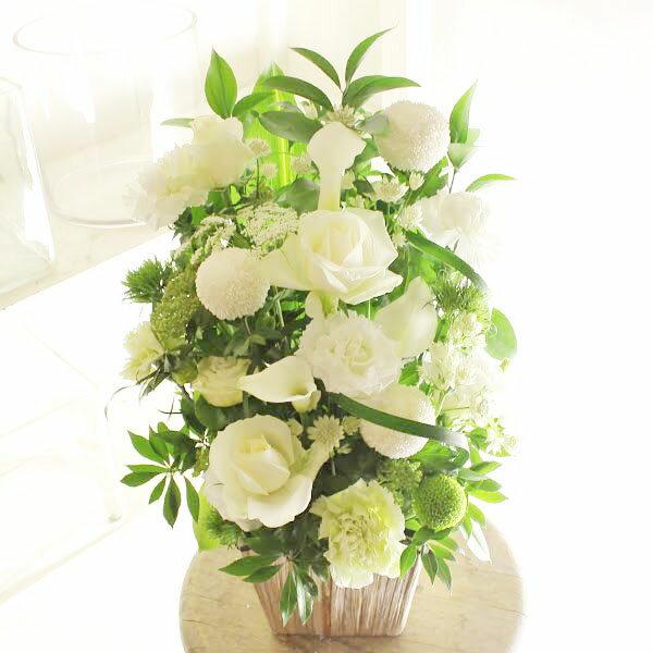 アレンジメントフラワー G&W Basket(グリーン・白系)※デザイナーが手がけるお洒落な一品。結婚祝い、入籍祝いなど、ブライダル関連の贈り物に【送料・メッセージカード無料】【あす楽】