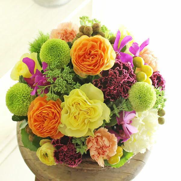 アレンジメントフラワー Round Basket(黄色・オレンジ系)※デザイナーが手がけるお洒落な一品。結婚祝い、入籍祝いなど、ブライダル関連の贈り物に【送料・メッセージカード無料】【あす楽】