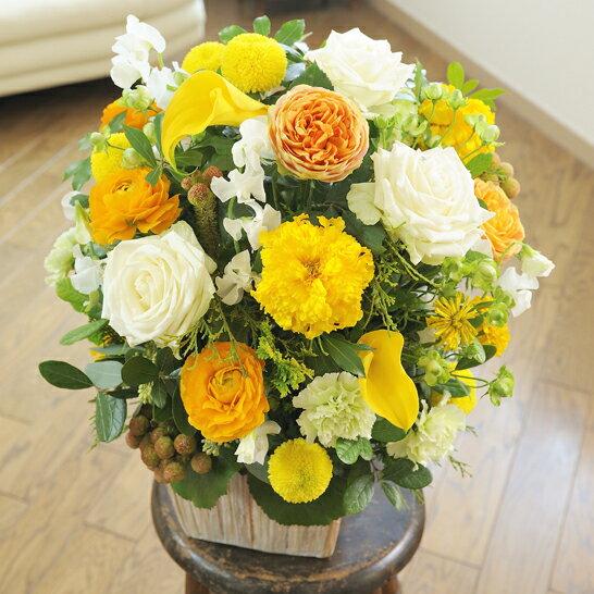 結婚披露宴への贈り物、結婚祝いのプレゼントにおすすめ!デザイナーズ アレンジメントフラワーMサイズ Warm Impressed(黄色・オレンジ系)と電報を一緒に宅配します【祝電とお祝い花がセットになったフラワーギフト】※全国送料無料