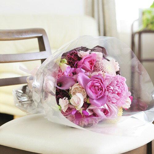 サプライズのプロポーズ・告白に手渡しできる花束に人気!ブーケ Mサイズ プリティー系(花束)と電報をセットにして同時に配達致します【全国送料無料】【電報付きのお祝い花】