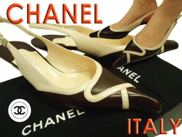 【未使用】イタリア製◇シャネルCHANEL◇バックストラップレザーパンプス(38