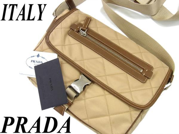 【中古】◎高級 イタリア製◎PRADA プラダ◎レザー使いナイロンショルダーバッグ