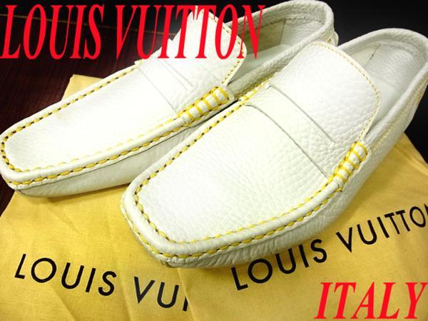 【未使用】○LOUIS VUITTON ルイヴィトン イタリア製 レザードライビングシューズ 革靴 フラットローファー 5.5 オフホワイト 箱付き 24.5~25cm