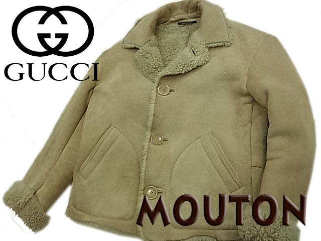 【中古】◇高級◇グッチ GUCCI◇ムートンレザージャケット カーキベージュ イタリア製 メンズアウター (Size:48