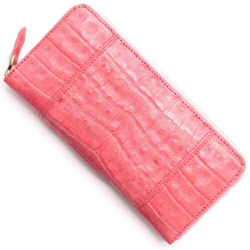 本革 Leather 長財布 クロコダイル 【CROCODILE】 ポルポラピンク R50001 レディース