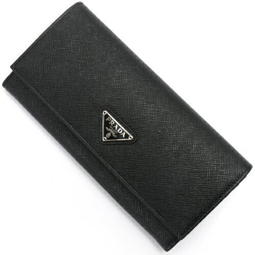 プラダ PRADA 長財布 SAFFIANO TRIANG 三角ロゴプレート ブラック 1MH132 QHH F0632 レディース