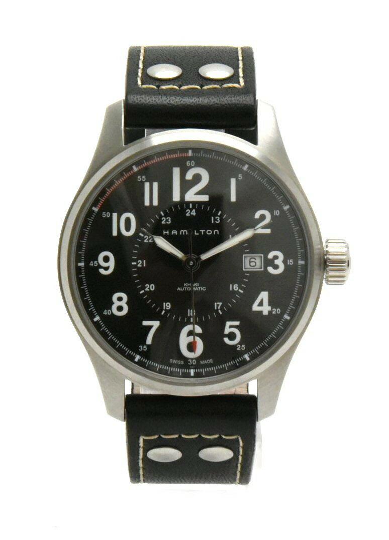 【ウォッチ】HAMILTON ハミルトン カーキ フィールド ブラック文字盤 SS 革ベルト メンズ オートマ 腕時計 H706150 【中古】【k】