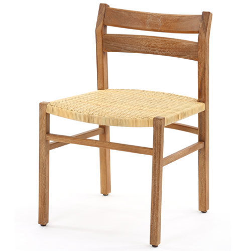 チーク木製ダイニングチェア 籐編み込み座面 ダイニングチェア 椅子 いす カフェ スツール パーソナルチェア 籐椅子 ラタン チーク無垢 木製