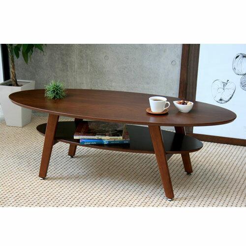 送料無料 棚付きオーバルリビングテーブル 幅120cm ブラウン ga-lt-oval-br