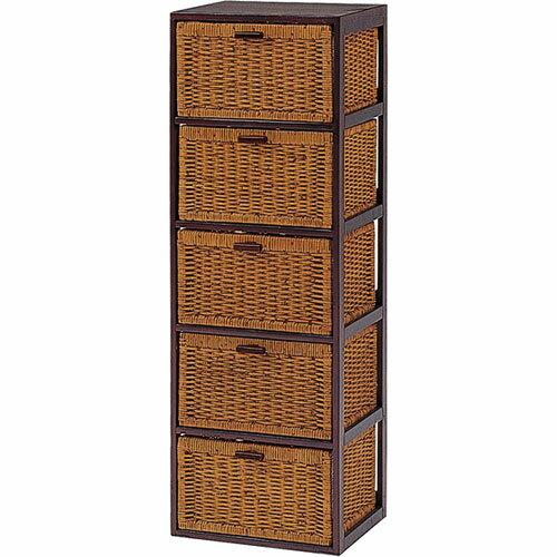 送料無料 天然木×籐製バスケットチェスト 枯淡 5段 幅40cm高さ119cm RN-2645★ hg-rn-2645