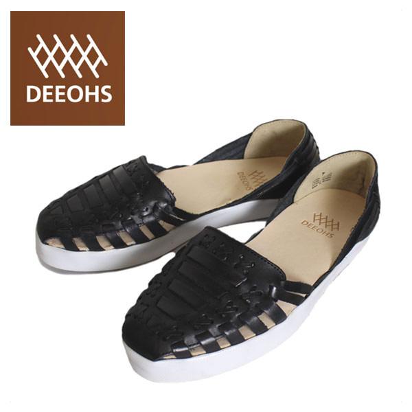 正規取扱店 DEEOHS (ディオス) MP-1002TL BETA (ベータ) 編み込み ローカット レディース レザーシューズ all black (オールブラック) DE051
