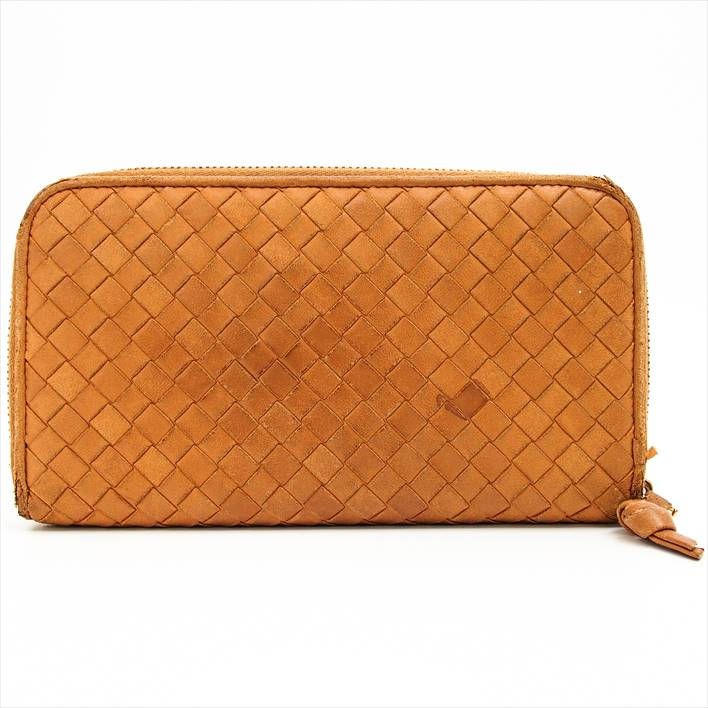 高価値 Bottega Veneta ボッテガヴェネタ イントレチャート ジップアラウンドウォレット 14076V00137810 財布【中古】