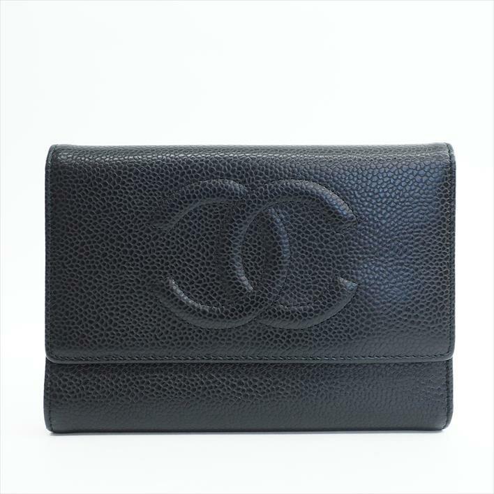 CHANEL シャネル ココマーク  A13225 キャビアスキン レディース財布 二つ折り財布(小銭入れあり) 【中古】
