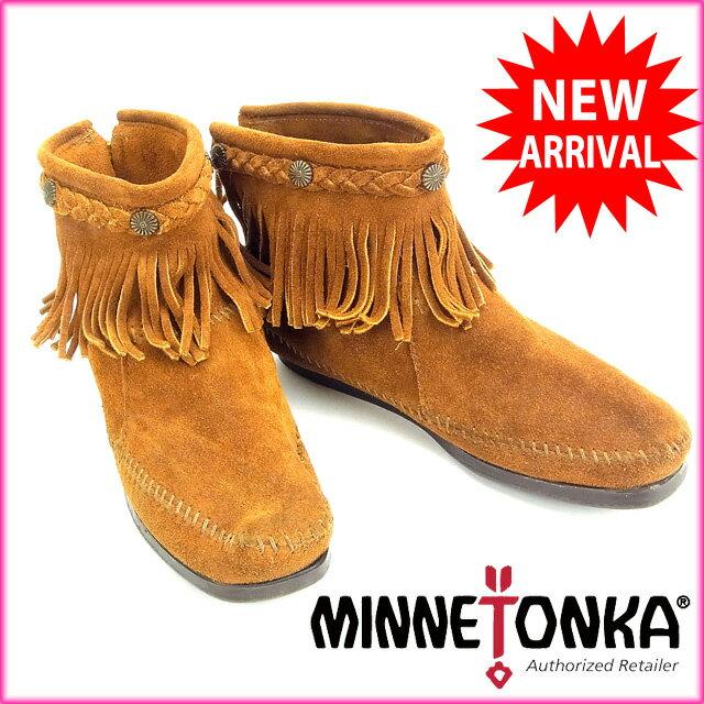 ミネトンカ Minnetonka ブーツ #7 ライトブラウン スエード 【中古】 B411 .