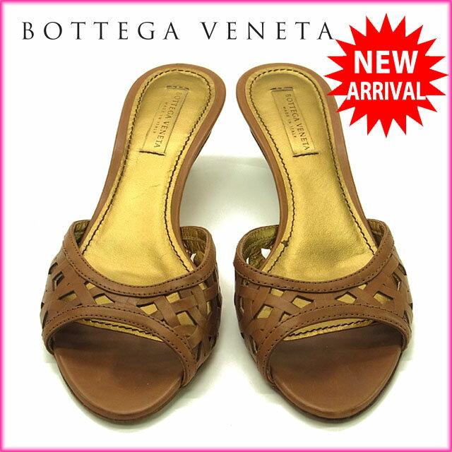 ボッテガ ヴェネタ BOTTEGA VENETA ミュール サンダル シューズ 靴 レディース ♯37 透かし編み ブラウン×ゴールド レザー  【中古】 G601