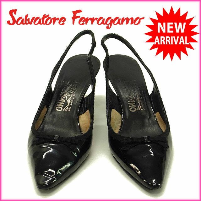 サルヴァトーレ フェラガモ Salvatore Ferragamo パンプス シューズ 靴 レディース ♯7ハーフD ポインテッドトゥ ヴァラリボン ブラック エナメルレザー 【中古】 G612 .