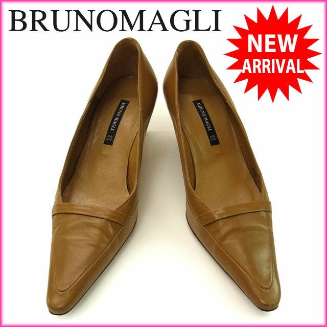 ブルーノマリ Bruno Magli パンプス /靴 /レディース /♯34・1/2 ポインテッドトゥ ライトブラウン レザー 【中古】 I100 .