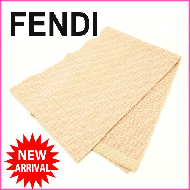 フェンディ FENDI マフラー ズッキーノ ベージュ×ピンク ウール  【中古】 J3743