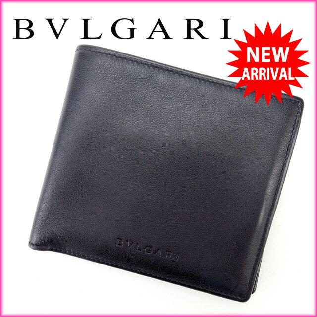 ブルガリ BVLGARI 二つ折り財布 メンズ可 ブラック レザー  【中古】 J4123