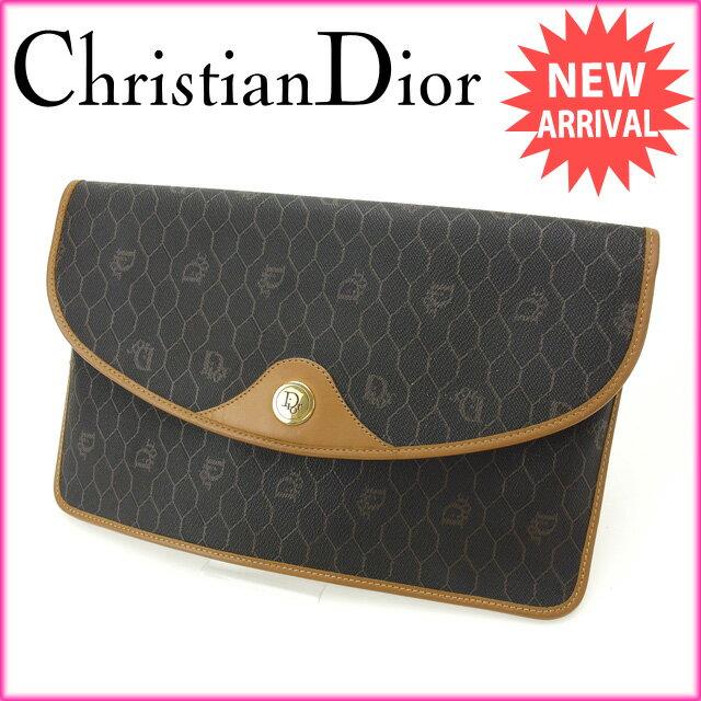 クリス�ャン・ディオール Christian Dior クラッ��ッグ メンズ� ヴィンテージ ヴィンテージ ライトブラウン×ブラック PVC×レザー �中�】 J6187