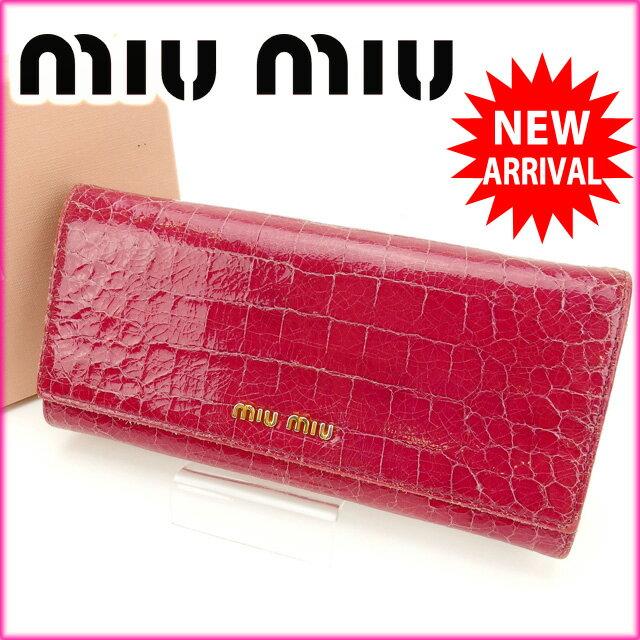 ミュウミュウ miumiu 長財布 クロコダイル型押し ピンク エナメルレザー ( )【中古】 R1079