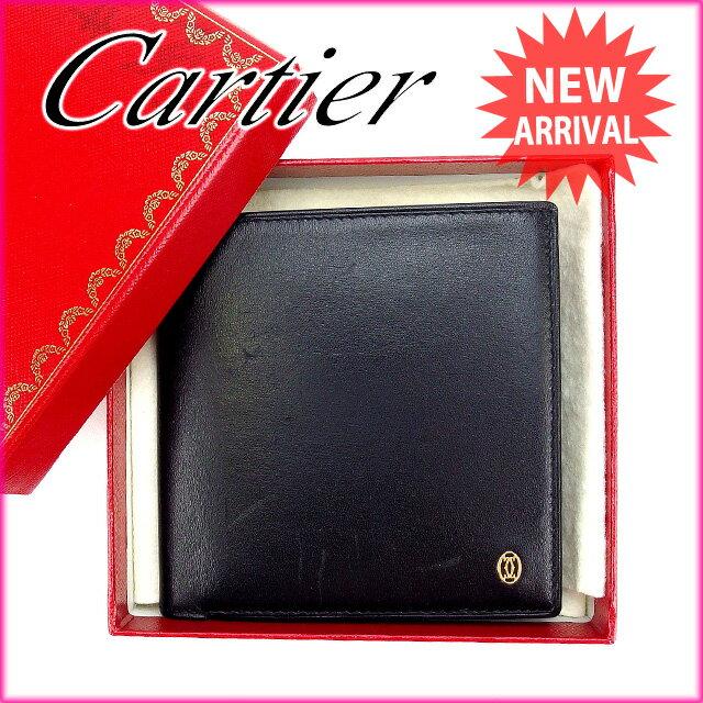 カルティエ Cartier 二つ折り財布 メンズ可 マストライン ブラック レザー 未使用品 【中古】 G705