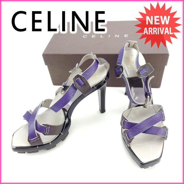 セリーヌ CELINE サンダル #37 1/2 レディース グレー×パープル (あす楽対応)良品 セール【中古】 Y2990