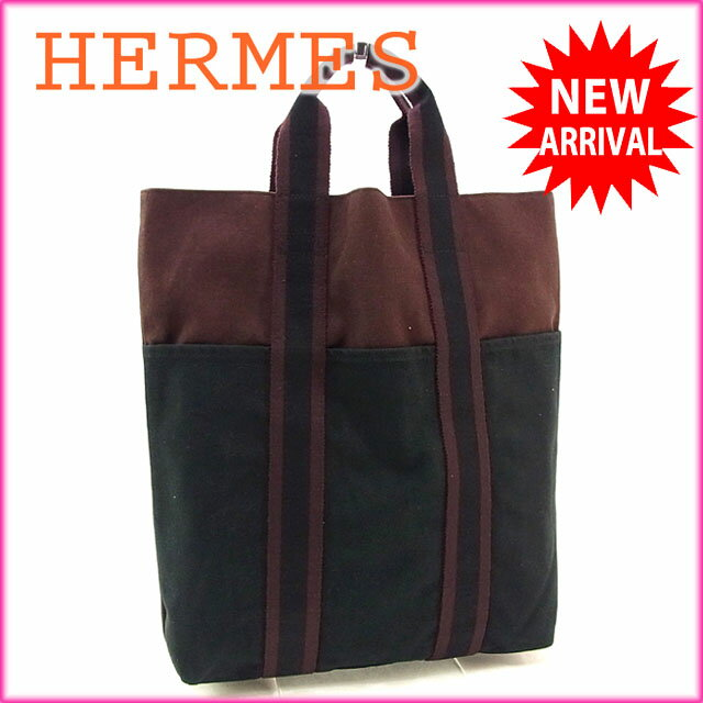 743515098cb4 エルメス HERMES トートバッグ ハンドバッグ メンズ可 カバス フールトゥ ダークパープル×ブラック コットンキャンバス (あす楽対応)良品  セール(参考定価50400 ...