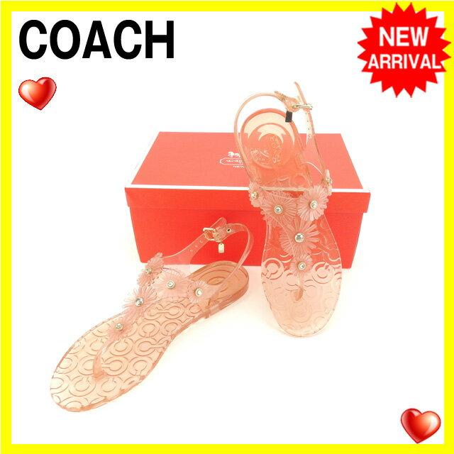 コーチ COACH サンダル #8 レディース ピンク ラバー (あす楽対応)良品 セール【中古】 Y3736
