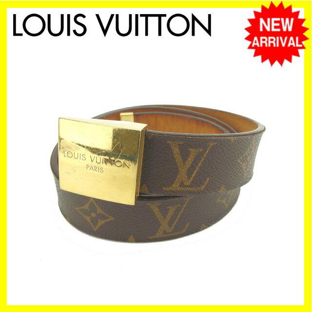 ルイヴィトン Louis Vuitton ベルト ゴールド�ックル 男女兼用 サン�ュールキャレ モノグラム M6800V ブラウン×ゴールド モノグラムキャン�ス (��楽対応)人気 セール�中�】 Y3954 .