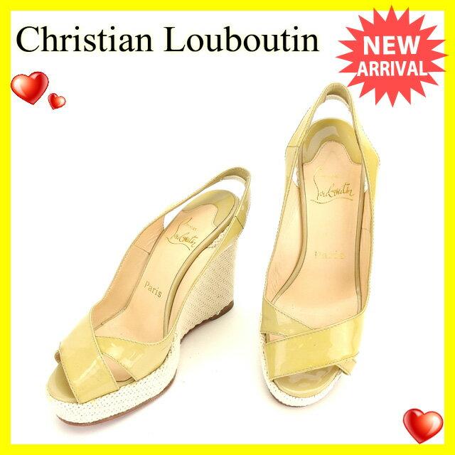 クリスチャンルブタン Christian Louboutin サンダル #36 1 2 ウェッジソール ベージュ×ホワイト エナメルレザー×コットン  【中古】 H370