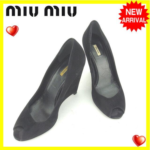 ミュウミュウ miumiu パンプス シューズ 靴 レディース ♯35 ウエッジソール オープントゥ ブラック スエード (あす楽対応) 【中古】 N333 .