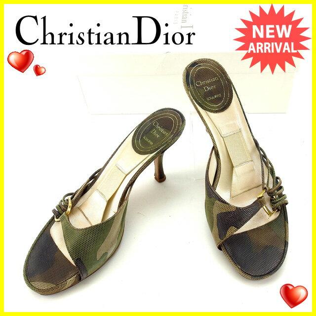 クリスチャンディオール Christian Dior サンダル サイズ36 レディース ブラウン×カーキ×ベージュ レザー (あす楽対応)人気 セール【中古】 Y4578