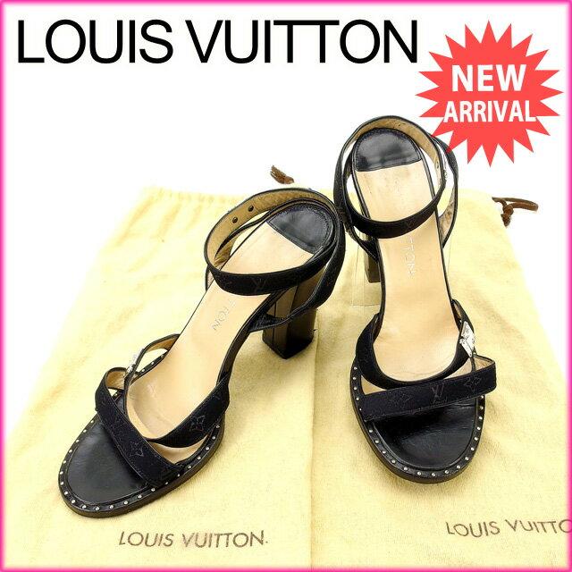 ルイヴィトン Louis Vuitton サンダル #37 レディース モノグラム ブラック (あす楽対応)人気 激安【中古】 Y1822