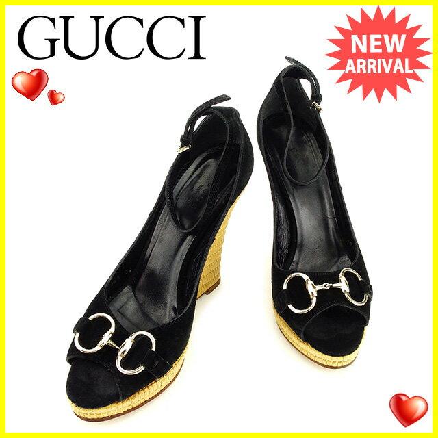 グッチ Gucci サンダル #36 1/2 レディース  ビット金具 ブラック×ベージュ スエード×ストロー 人気 セール 【中古】 T2813