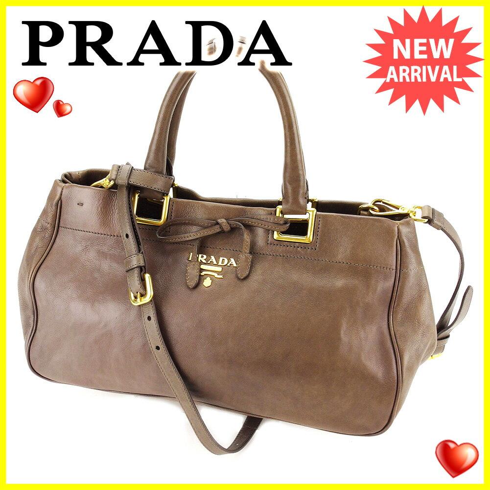 プラダ PRADA ハンドバッグ 2WAYショルダー レディース   ブラウン系 レザー 美品 セール 【中古】 J21610