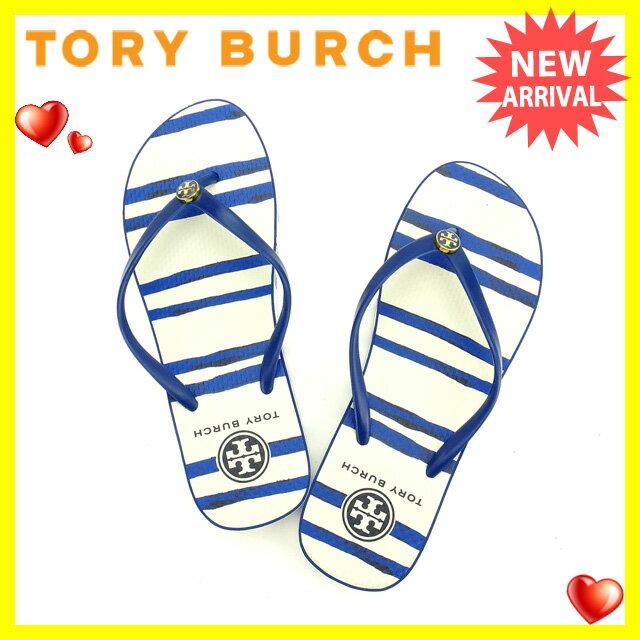 トリバーチ Tory Burch ビーチサンダル #7 レディース 2015年新作 90008652 ブルー×ホワイト PVC×ラバー (あす楽対応)新品 未使用品【中古】 O168