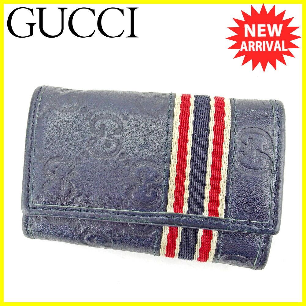 0f514b7266ca グッチ キーケース 6連キーケース Gucci ネイビー レッド ホワイト系 【中古】 T5279s 新版