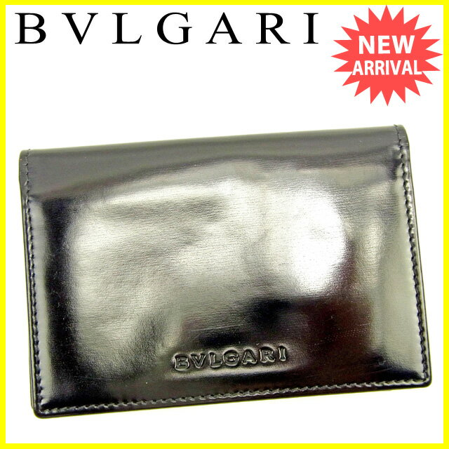 ブルガリ BVLGARI 名刺入れ カードケース レディース メンズ 可 ブラック レザー 人気 【中古】 Y6538 .