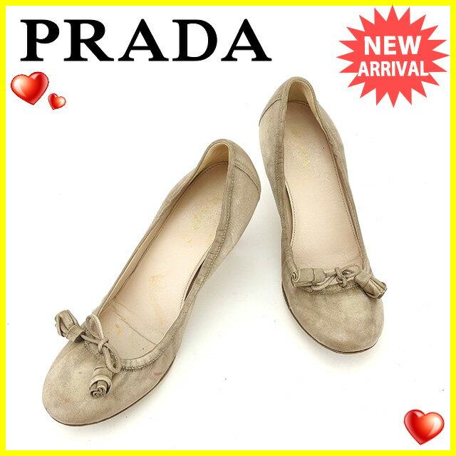 プラダ PRADA パンプス シューズ 靴 レディース ♯36ハーフ ラウンドトゥ リボン ベージュ系 レザー  【中古】 L1312 .