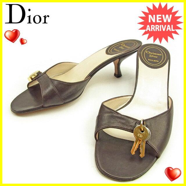 ディオール Dior ミュール #36 1/2 レディース  カデナ ブラウン×ゴールド レザー 人気 セール 【中古】 T998