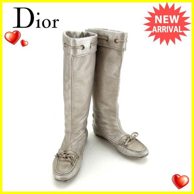 クリスチャンディオール Christian Dior ブーツ シューズ 靴 レディース ♯37 ロング リボン シルバー レザー  【中古】 F1114 .