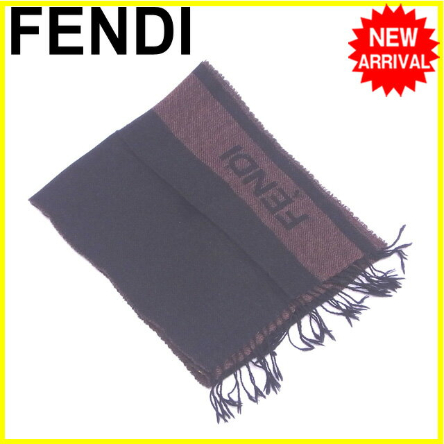 フェンディ FENDI マフラー フリンジ付き  ロゴライン ブラック×ブラウン ウール/100%  【中古】 J13030