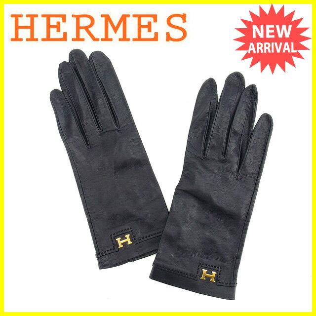 エルメス HERMES 手袋 グローブ レディース Hマーク ブラック×ゴールド レザー  【中古】 L951